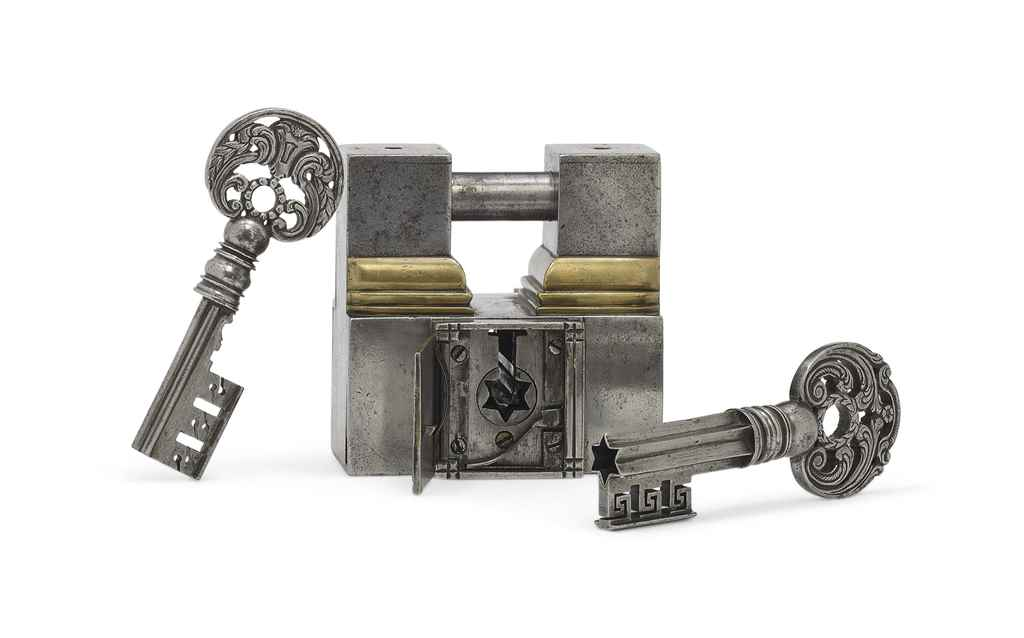 French Padlock Auction With Two Keys Big Tree Keys